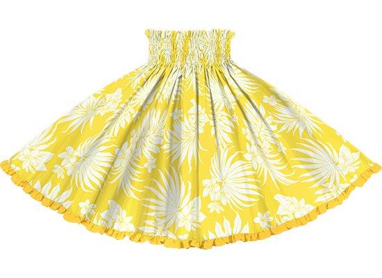 【リヒリヒパウスカート】 黄色のパウスカート プルメリア・ヤシ柄 lhpau-2770YW