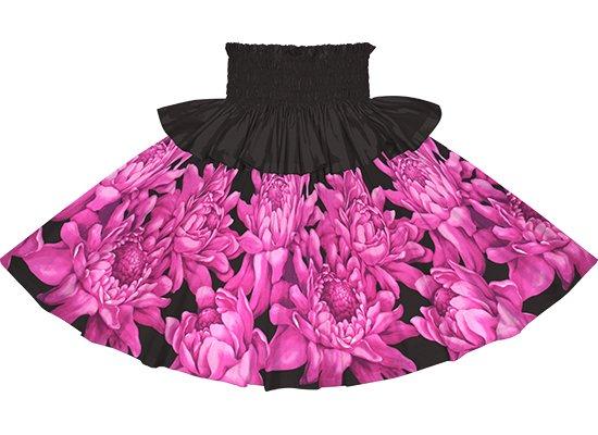 【フリルパウスカート】紫と黒のトーチジンジャー大柄 frpau-2776PPBK