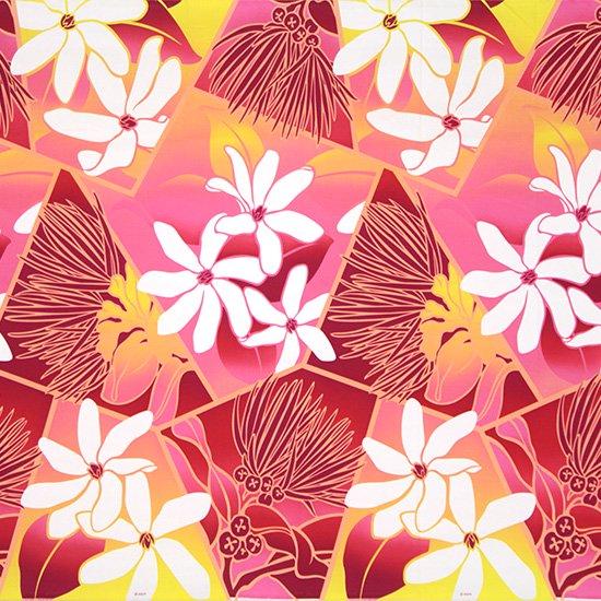 ピンクのハワイアンファブリック ティアレ・レフア・グラデーション柄 fab-2773Pi 【4yまでメール便可】