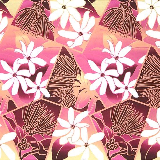 紫とピンクのハワイアンファブリック ティアレ・レフア・グラデーション柄 fab-2773PPPi 【4yまでメール便可】