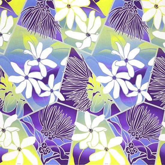 紫のハワイアンファブリック ティアレ・レフア・グラデーション柄 fab-2773PPPP 【4yまでメール便可】