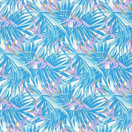 水色のハワイアンファブリック ヘリコニア・ヤシ柄 fab-2777AQ 【4yまでメール便可】