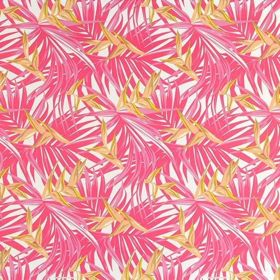ピンクのハワイアンファブリック ヘリコニア・ヤシ柄 fab-2777Pi 【4yまでメール便可】