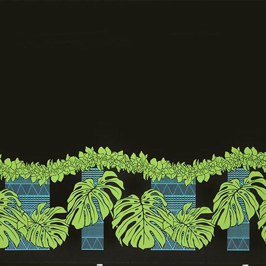 黒のハワイアンファブリック モンステラ・シンビジウム・カヒコ柄 fab-2778BK 【4yまでメール便可】