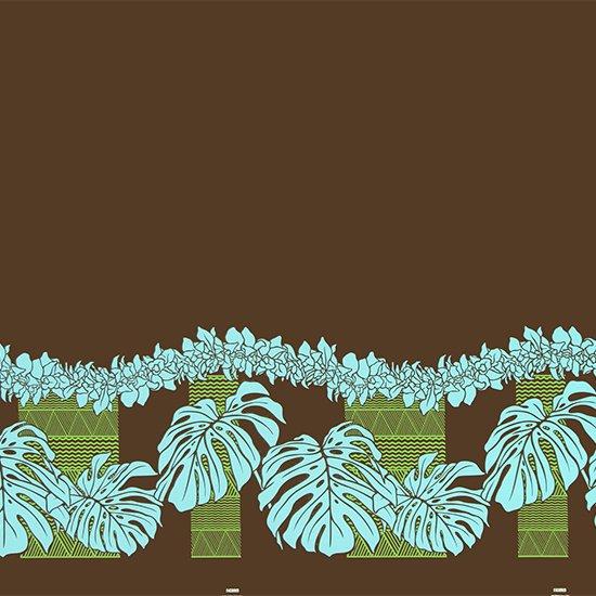 茶色のハワイアンファブリック モンステラ・シンビジウム・カヒコ柄 fab-2778BR 【4yまでメール便可】
