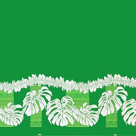 緑のハワイアンファブリック モンステラ・シンビジウム・カヒコ柄 fab-2778GN 【4yまでメール便可】