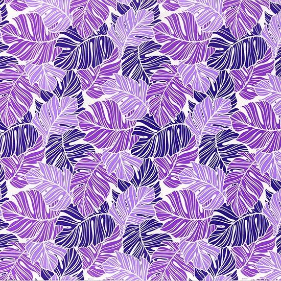 紫のハワイアンファブリック モンステラ柄 fab-2779PP 【4yまでメール便可】