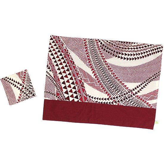 ハワイアン柄 ランチョンマット&コースターセット 紫のタパ・カヒコ柄 pmatset-hf-2736PP 【メール便可】