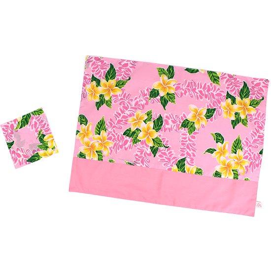 ハワイアン柄 ランチョンマット&コースターセット ピンクのプルメリア柄 pmatset-hf-2723Pi 【メール便可】