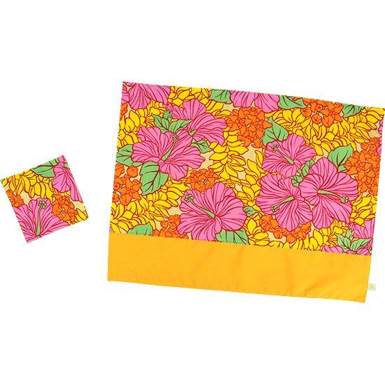 ハワイアン柄 ランチョンマット&コースターセット ピンクとオレンジのハイビスカス・クラウンフラワー柄 pmatset-hf-2719PiOR 【メール便可】