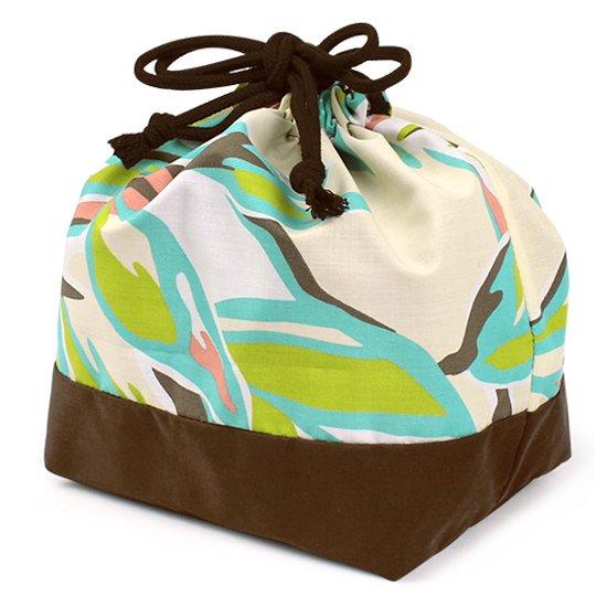 ハワイアン柄 ランチ巾着 お弁当袋 クリーム色のリーフ柄 drst-lnc-2644CR【メール便可】