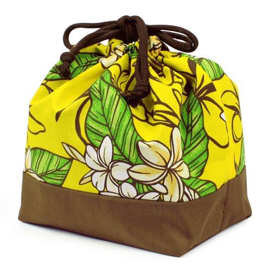 ハワイアン柄 ランチ巾着 お弁当袋 黄色のプルメリア柄 drst-lnc-2680YW【メール便可】