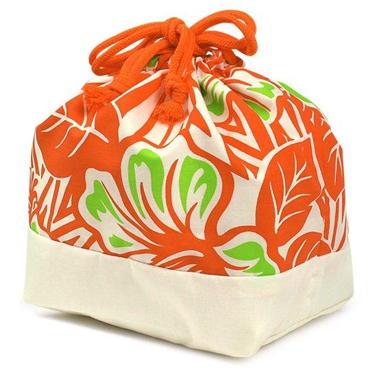 ハワイアン柄 ランチ巾着 お弁当袋 オレンジのハイビスカス柄 drst-lnc-2696OR【メール便可】