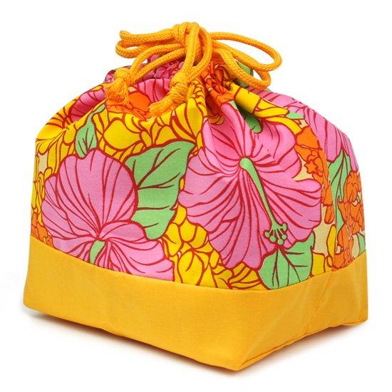 ハワイアン柄 ランチ巾着 お弁当袋 ピンクとオレンジのハイビスカス・クラウンフラワー柄 drst-lnc-2719PiOR【メール便可】