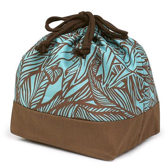 ハワイアン柄 ランチ巾着 お弁当袋 水色のティリーフ柄 drst-lnc-2764AQ【メール便可】