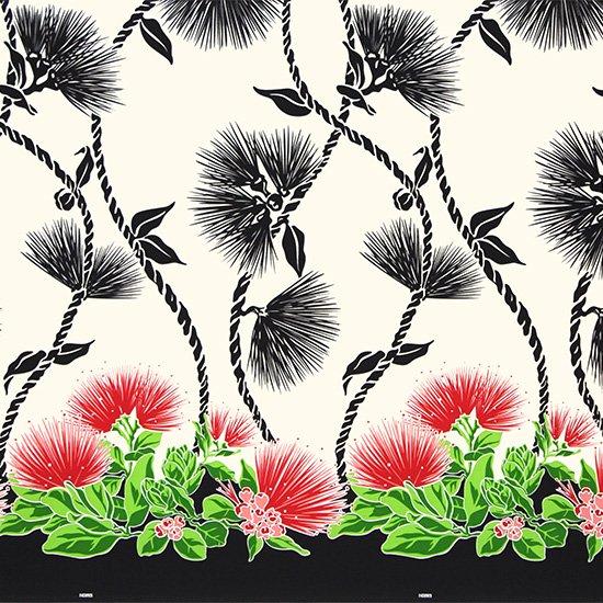 クリーム色と黒のハワイアンファブリック レフア・ティリーフレイ柄 fab-2780CRBK 【4yまでメール便可】