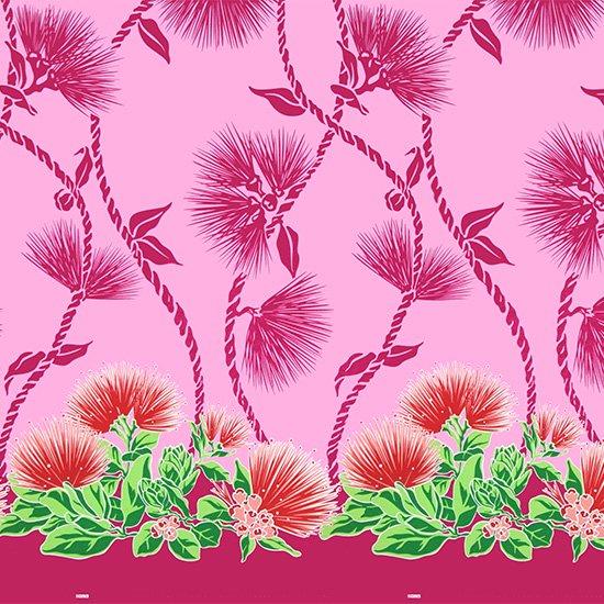 ピンクのハワイアンファブリック レフア・ティリーフレイ柄 fab-2780Pi 【4yまでメール便可】