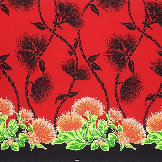 赤のハワイアンファブリック レフア・ティリーフレイ柄 fab-2780RD 【4yまでメール便可】