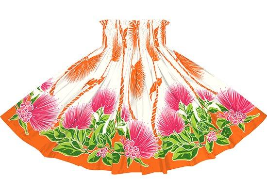 クリーム色とオレンジのパウスカート レフア・ティリーフレイ柄 spau-2780CROR