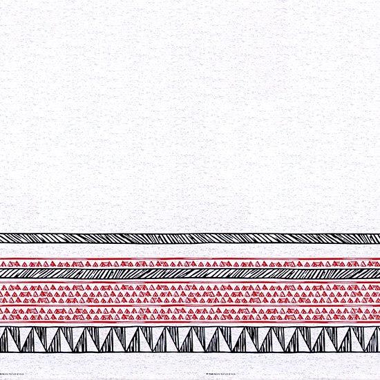 白のハワイアンファブリック カヒコ・ボーダー柄 fab-2782WH 【4yまでメール便可】