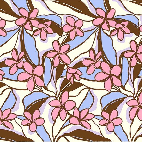 茶色とピンクのハワイアンファブリック プルメリア柄 fab-2783BRPi 【4yまでメール便可】