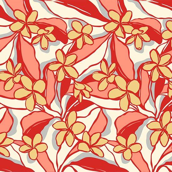 赤とベージュのハワイアンファブリック プルメリア柄 fab-2783RDBG 【4yまでメール便可】