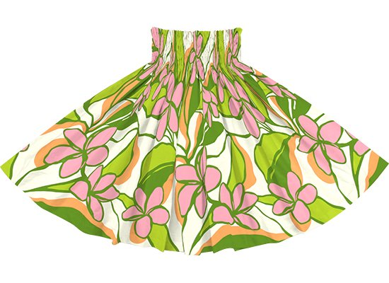 緑とピンクのパウスカート プルメリア柄 spau-2783GNPi