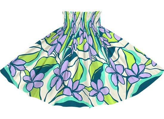 緑と紫のパウスカート プルメリア柄 spau-2783GNPP