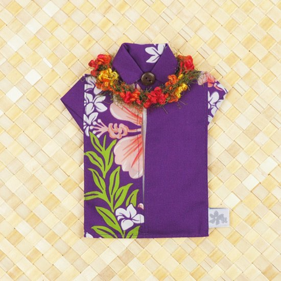 アロハシャツポケットティッシュケース フラワーレイ 紫A tsc-aloha-f-PP-A【メール便可】