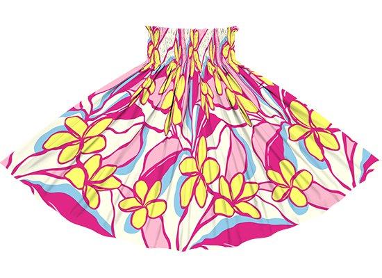 ピンクと黄色のパウスカート プルメリア柄 sprm-2783PiYW 75cm 4本ゴム 【既製品】