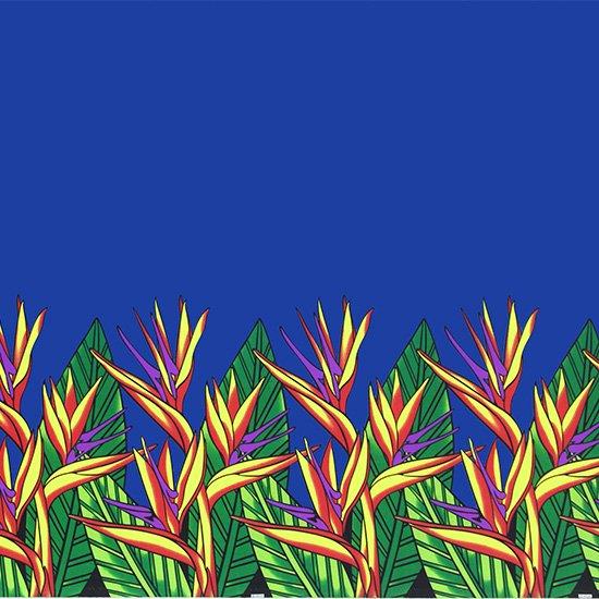 青のハワイアンファブリック バードオブパラダイス柄 fab-2784BL 【4yまでメール便可】