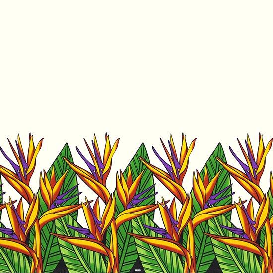 クリーム色のハワイアンファブリック バードオブパラダイス柄 fab-2784CR 【4yまでメール便可】