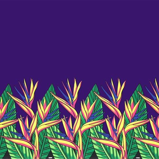 紫のハワイアンファブリック バードオブパラダイス柄 fab-2784PP 【4yまでメール便可】