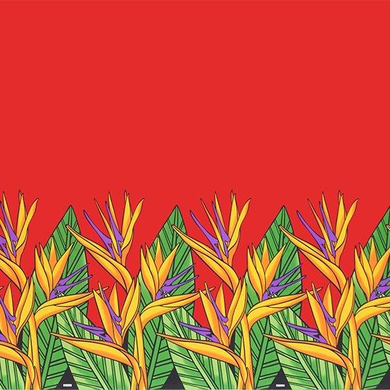 赤のハワイアンファブリック バードオブパラダイス柄 fab-2784RD 【4yまでメール便可】