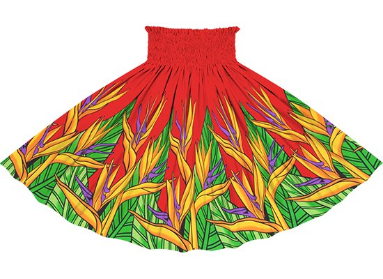 赤のパウスカート バードオブパラダイス柄 sprm-2784RD 75cm 4本ゴム 【既製品】