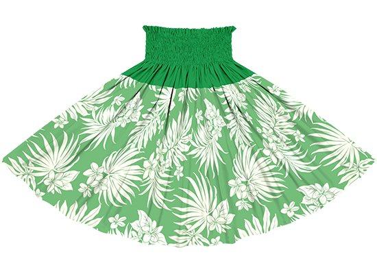 【切り替えパウスカート】 緑のプルメリア・ヤシ柄とビリジアンの無地  ykpau-2770GN