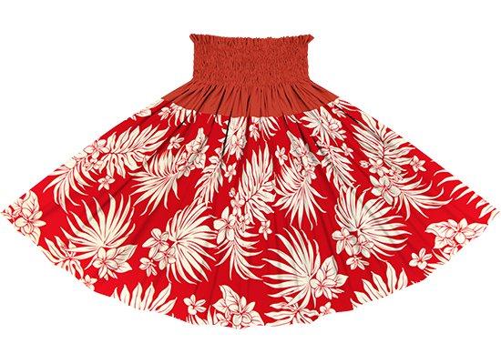 【切り替えパウスカート】 赤のプルメリア・ヤシ柄とクリムゾンの無地  ykpau-2770RD