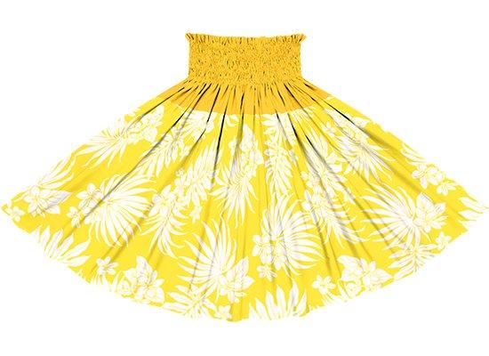 【切り替えパウスカート】 黄色のプルメリア・ヤシ柄とゴールドの無地  ykpau-2770YW