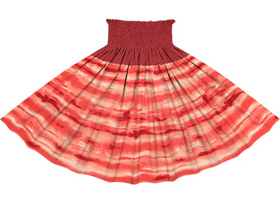 【切り替えパウスカート】 赤のイリカイ柄とガーネットの無地 ykpau-2774RD