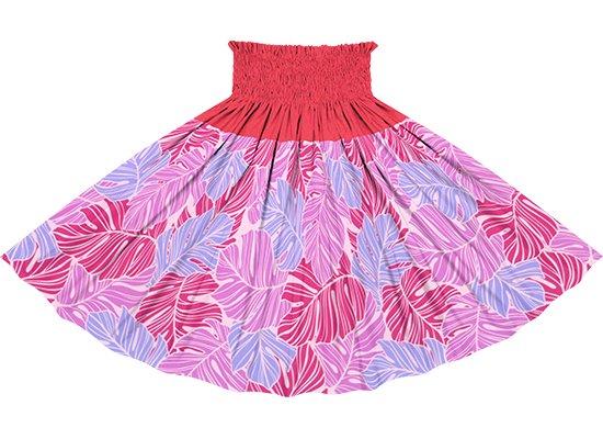 【切り替えパウスカート】 ピンクのモンステラ柄とラズベリーの無地 ykpau-2779Pi