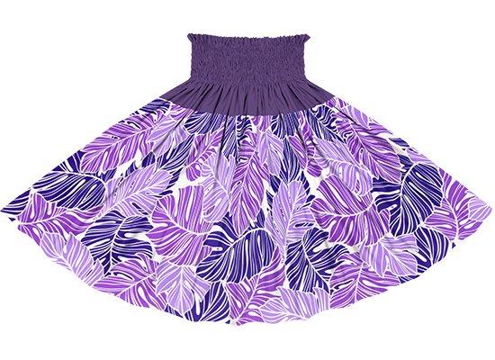 【切り替えパウスカート】 紫のモンステラ柄とディープバイオレットの無地 ykpau-2779PP