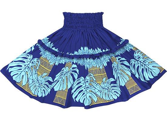【ティアードパウスカート】 青のモンステラ・シンビジウム・カヒコ柄 tipau-2778BL