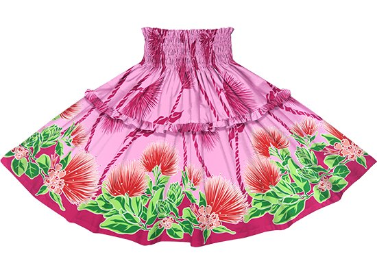 【ティアードパウスカート】 ピンクのレフア・ティリーフレイ柄 tipau-2780Pi