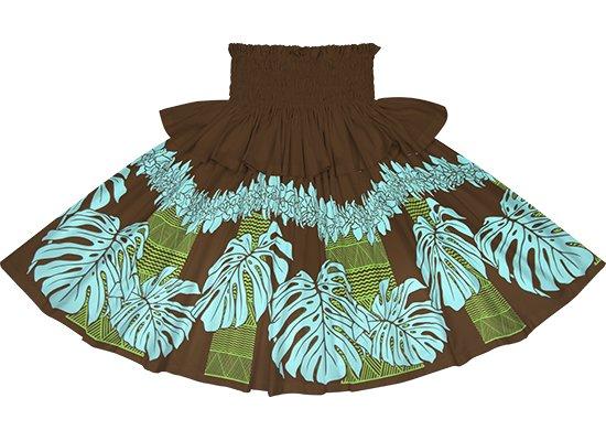 【フリルパウスカート】茶色のモンステラ・シンビジウム・カヒコ柄 frpau-2778BR