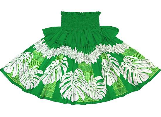 【フリルパウスカート】緑のモンステラ・シンビジウム・カヒコ柄 frpau-2778GN