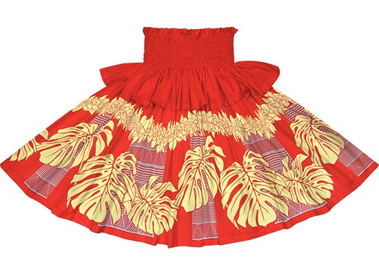 【フリルパウスカート】 赤のモンステラ・シンビジウム・カヒコ柄 frpau-2778RD