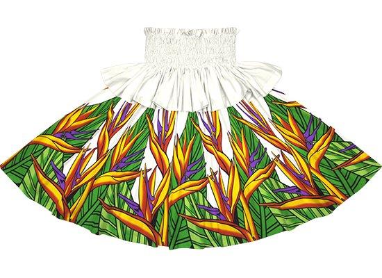 【フリルパウスカート】クリーム色のバードオブパラダイス柄 frpau-2784CR