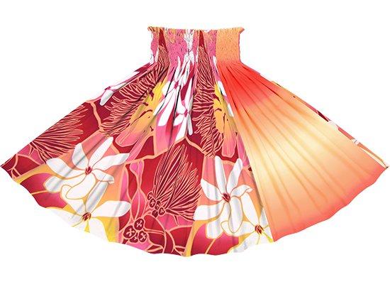 【たて切り替えパウスカート】 ピンクのティアレ・レフア・グラデーション柄とクリーム色と赤のグラデーション vypau-2773Pi