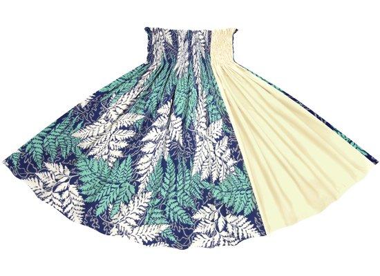 【たて切り替えパウスカート】青のパラパライ柄とクリーム色の無地 vypau-2775BL-cream