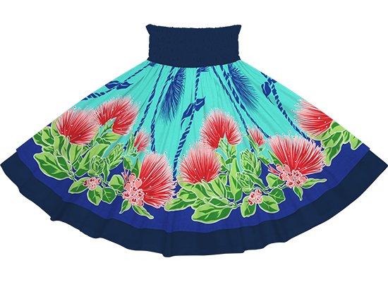 【ダブルパウスカート】水色のレフア・ティリーフレイ柄とネイビーの無地 dpau-2780AQ